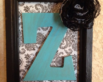 Custom Initial Picture Frame, Black and White Damask Print, Cute wall decor!