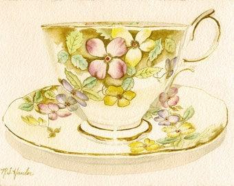 Watercolor print of a Royal Albert Bone China Cup