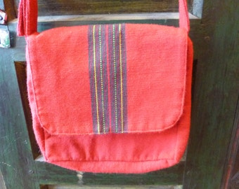 Vegan Purse Red Cotton Shoulder Bag Across Body Purse 80's