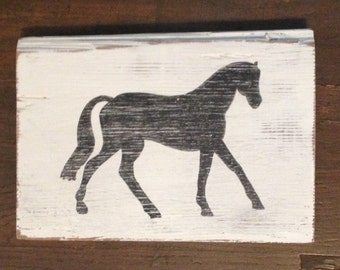 Horse Wood Sign with a Vintage Feel