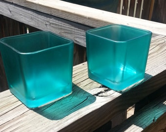 Jade Tinted Glass Candle Holders