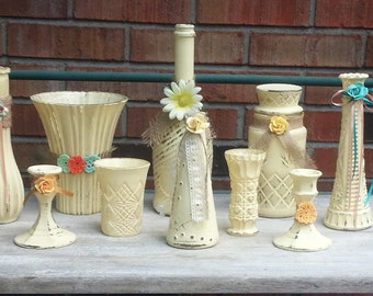 Set on 10 Shabby Chic Vases And Candle Holders