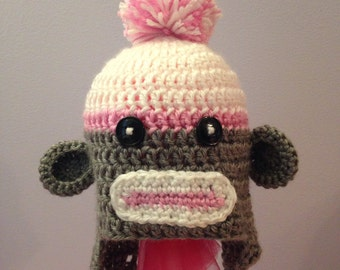 Adorable baby girl monkey hat.