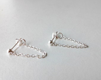 Sterling Silver Post Chain Earrings, Silver Chain Earrings, Post chain earring, Stud Chain Earrings, Chain Earrings, Earring with chain
