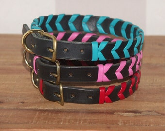 Handmade Laced Leather Dog Collar - 14, 16 Inch Length - Size Medium - Black with Pink, Red, Turquoise Aqua Lacing Braided