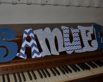 Baby Boy Wooden Nursery Letters, Wooden Nursery Letters, Blue and White chevron letters, Blue and grey wooden letters, baby shower gift