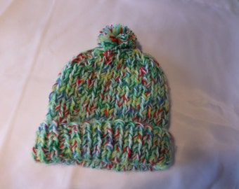 Bright green ribbed beanie