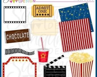 Movie Night Clipart, Movie Clipart, Popcorn Clipart, Ticket Clipart, Theater Clipart, Movie Reel Clipart, Birthday Clipart,
