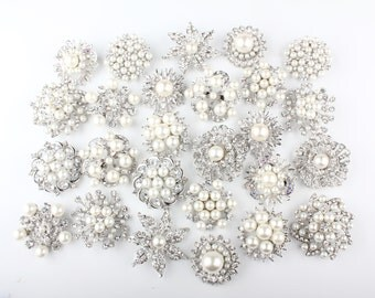 26 pcs Rhinestones Pearl Pin Brooch, DIY Brooch Bouquet Lot, Bridesmaid Gift, Wedding Accessory Embellishment