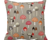 Zippered Mushrooms Throw Pillow Cover - Woodland Forest - Nature - Pewter Mushroom - 14x14 16x16 18x18 - Accent Case Cushion