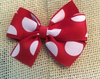 Red and White Polka Dot Grosgrain Ribbon Hair Bow