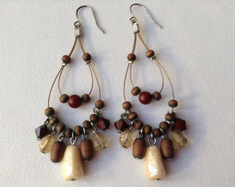Wood and Stone Dangle Earrings