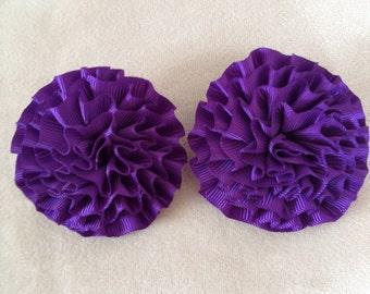 Vintage Shoe Clip Purple Fabric Flower
