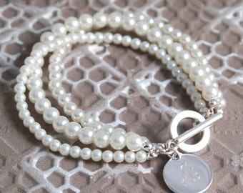 Triple Strand Pearl Bracelet with Charm- White or Pearl (e101-1120) - Free Personalization