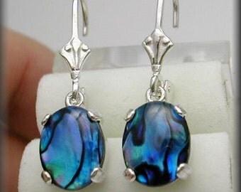 Blue Paua Shell Earrings | 10x8mm Paua Shell Jewelry | Abalone Earrings | Leverback Silver Earrings | Lever back Earrings | Abalone Jewelry