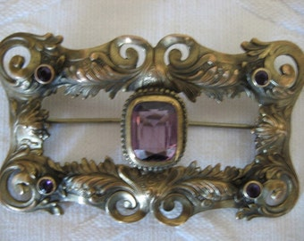Brass and Amethyst Brooch