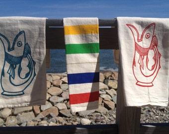 Turquoise Fish Flour Sack Dish Towel