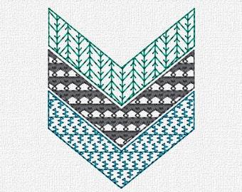 Chevron Machine Embroidery Design Pattern Instant Download 4x4 5x7 Modern Redwork Chevrons
