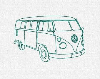 Volkswagon Bus Machine Embroidery Pattern Design Download 4x4 5x7 6x10 Modern VW Redwork Retro