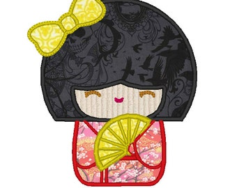 Japanese Doll Geisha Applique Embroidery Design Pattern for Machine Sewing girl