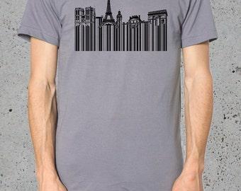 Men's Paris T Shirt__Gift for him /Boyfriend Gift/American Apparel Tshirt()Instagram Like~Mens Graphic Tee Paris T-shirt Eiffel tower