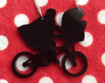 SALE ET Silhouette Bike Retro Acrylic Necklace Black