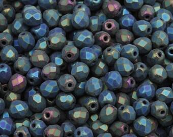 Fire polished glass beads Matte Iris Green, 4 mm | Czech faceted glass beads 100/200 Pcs - FG07504