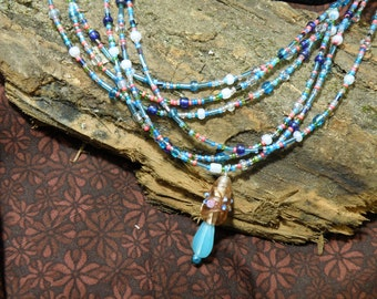 Beaded Multi-Strand Necklace in Blue