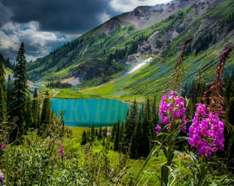 Lake and Flowers Colorado Photo print Emerald Lake Colorado Crested Butte