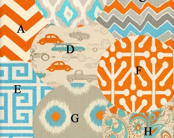 Nursery Bedding Crib Orange and Aqua Cars