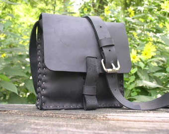 CSherwoodLeather Handmade, Black Oil Tanned Purse, Small Messenger Bag, Cross Body Bag, with Nickle Finish Roller Buckle
