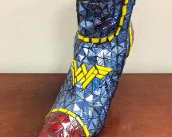 Wonder Woman boot mosaic using stained glass and mirror