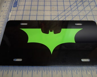 Dark night Batman license plate tag (lime, red, yellow)