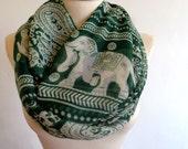 Elephant print infinity scarf, winter scarf, elephant scarf, print scarf women, loop scarf, green scarf