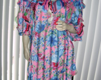 Genuine Diane Freis w/ signatures tunic mini dress florals ruffled @ Vintage 50s 60s 70s Boutique