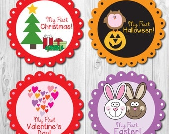 Holiday Milestone Stickers, Baby Monthly Stickers, Monthly Baby Holiday Stickers, My first Holiday Stickers, Bodysuit Stickers Holiday