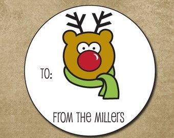 Rudolph Holiday Stickers, Christmas Gift Tags, Personalized Holiday Labels, Reindeer Stickers, Gift Tags for Holiday, Christmas Labels