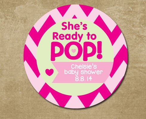 baby shower ready to pop stickers personalized by chevronsmiles