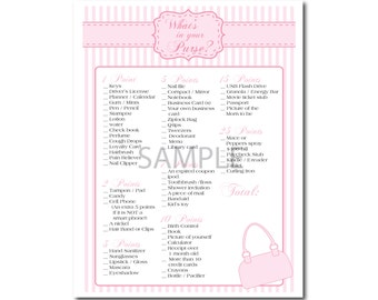 Pink Striped Baby Girl Shower Game: What's in Your Purse?