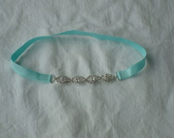 baby headband-rhinestone headband-aqua headband-baby girl headband-birthday headbands-newborn headband-princess headband-adult headband