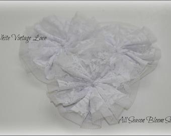 "White Vintage Lace Flowers, Lace Flowers, Fabric Flowers, Chiffon Flowers, Rosettes, Wholesale, DIY, 4"""
