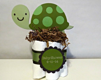 Turtle Mini Diaper Cake Centerpieces for baby shower or gift