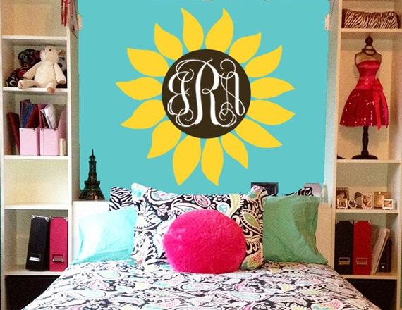 Sunflower Monogram Wall Decal by JensVinylDecals