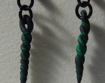 Twisted clay dangle earrings