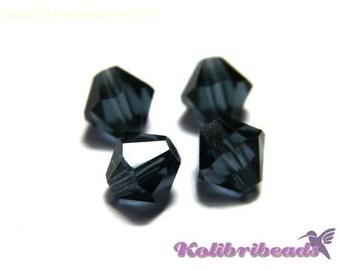 20x Czech Crystal Bicone Beads 6 mm - Montana Blue