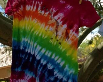 Unicorn on a Rainbow Tie Dye TShirt