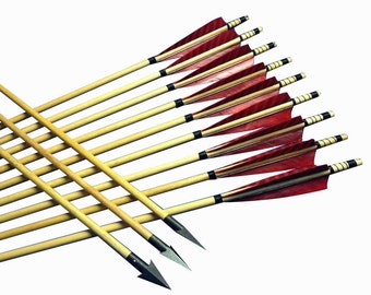 12pcs Traditional Archery Handmade Wood Hunting Arrows For Longbow&Recurve bows