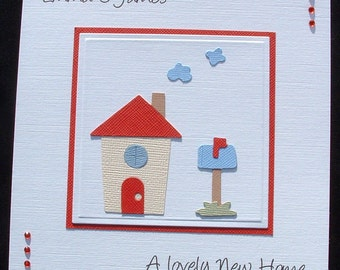 Personalised card, handmade card, house warming card, welcome new home, new home card, happy new home, moving home card, new house card,
