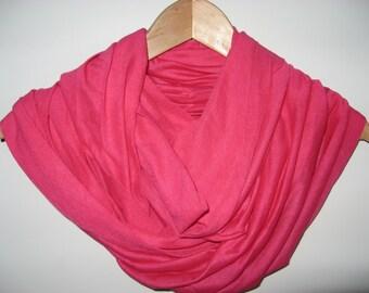 Pink Jersey Knit Infinity Scarf Wrap