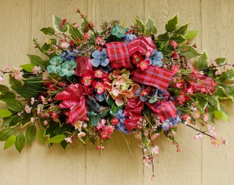 Pink and Blue Hydrangea Floral Swag PamsDeZines Pink Blue Hydrangea Red Pink Apple Blossoms Floral Arrangement Swag Hydrangea Swag(Item 158)